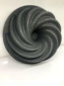 Zellerfeld Design Backform Gugelhupfform Rund Ø24cm aus hochwertigem antihaftbeschichtetem Aluguss mit geschwungener Oberflächenstruktur Grau (ZY-LH11-1)