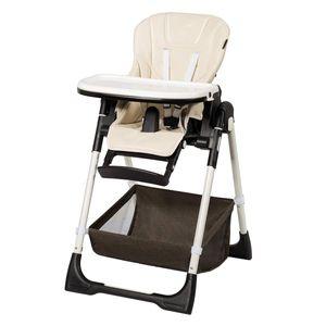 COSTWAY Baby Hochstuhl höhenverstellbar, Babyhochstuhl klappbar, Kinderhochstuhl rollbar, Babystuhl, Kombihochstuhl mit verstellbarer Rueckenlehne und Fußablage, für Babys und Kleinkinder Beige