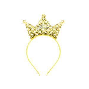 Oblique Unique Haarreifen Happy Birthday Haarreif mit Pailletten Krone Glitzereffekt Kinder Geburtstag - gold