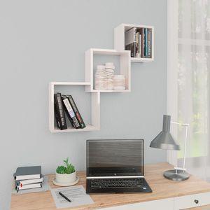 dereoir Cube Wandregale Hochglanz-Weiß 84,5×15×27 cm Spanplatte