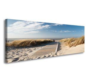 120 x 40 cm Bild auf Leinwand tropischer Nordsee Schilf Düne 5732-SCT deutsche Marke und Lager  -  Die Bilder / das Wandbild / der Kunstdruck ist fertig gerahmt