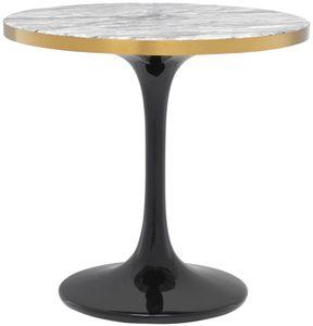 Casa Padrino Luxus Beistelltisch Grau / Messing / Schwarz Ø 55 x H. 52,5 cm - Luxus Möbel
