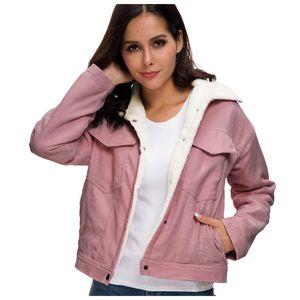 Frauen dicke Winter warme Futter Mäntel Mode Samt Jacken Cord Outwear Größe:S,Farbe:Pink