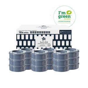 Tommee Tippee Twist and Click Advanced Windeleimer Nachfüllkassetten, Nachhaltig gewonnener antibakterieller Greenfilm™, 18er-Set, FFP