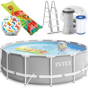INTEX 427x107 cm Prism Metal Frame Swimming Pool Schwimmbecken 26720 Komplett-Set mit Filterpumpe, Unterlegplane, Abdeckplane und Leiter sowie Extra-Zubehör wie: Luftmatratze und Strandball