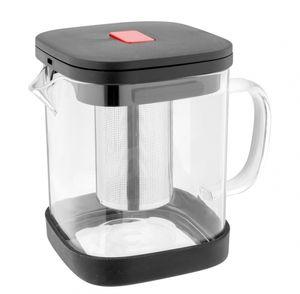 eckige Glas Teekanne 1,1L mit Edelstahlsieb Markiz