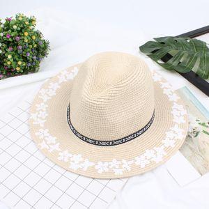 Frauen Sommer Sunhat Stroh Breiter Krempe Blumendruck Einstellbare Sommer Panama Beach Holiday Cap