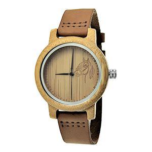 Holzwerk Damenuhr und Kinderuhr kleine Holz Pferd Leder Uhr Beige Braun