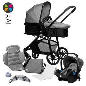 Kombikinderwagen 3 in 1, Komplettset inkl. Babyschale (Auto) und Wanne, Babyblume IVY  - grau melange