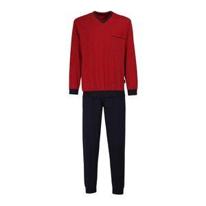 GÖTZBURG Herren Schlafanzug lang - Pyjama V-Ausschnitt, Pure Baumwolle Chili Pepper L (52)
