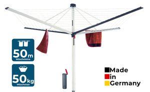 BLOME Wäschespinne Superior DuoMatic 50 - Designer Wäscheständer für den Garten inkl. Bodenhülse, Wäscheschirm mit Leinenautomatik, 50m Wäscheleine,  Germany