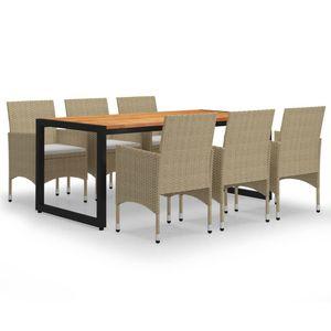 Gartenmöbel Essgruppe 6 Personen ,7-TLG. Terrassenmöbel Balkonset Sitzgruppe: Tisch mit 6 Stühle, Beige❀5879