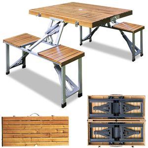 Deuba Alu Campingtisch mit 4 Stühlen klappbar Koffertisch Sonnenschirmhalter Tragegriff Sitzgruppe Campingmöbel Set Holz
