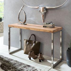 WOHNLING Konsolentisch GUNA Massivholz Akazie Konsole mit Metallbeinen Schreibtisch 120 x 45 cm Landhaus-Stil Sideboard