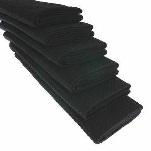 GKA 6 Stück Geschirrtücher 100% Baumwolle Waffel-Piqué Küchentuch Tuch Putztuch Trockentücher Geschirrtuch Gastroqualität schwarz 70 x 50 cm