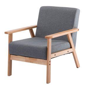 IPOTIUS Retro Sessel Stuhl Grau Lounge Sessel mit Massivholz-Struktur Hochwertigem Gepolsterten und Rückenlehne,für Wohnzimmer Schlafzimmer Skandinavisches Designsessel
