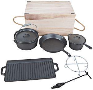 El Fuego Pfannen-Schmortopf-Set Dutch Oven Set 7-teilig, schwarz