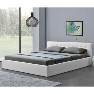 Juskys Polsterbett Marbella 180x200 cm mit Bettkasten & Lattenrost – Bettgestell aus Kunstleder und Holz – Bett Jugendbett weiß