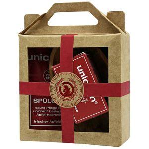 Geschenk-Set mini-Apfel Haarseife 16g, sauer Spülung 10ml, Olivenholzschale klein