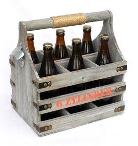DanDiBo Bierträger mit Flaschenöffner Flaschenträger 6 Zylinder 93540 Bierkiste Holz