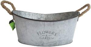 Zinkwanne Flowers Landhausstil L 39 cm Pflanzgefäß Pflanzkübel Zinktopf Garten