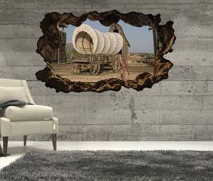 3D Wandtattoo Western Wagen retro Indianer Prärie Wand Aufkleber Wanddurchbruch sticker selbstklebend Wandbild Wandsticker Wohnzimmer 11P629, Wandbild Größe F:ca. 162cmx97cm