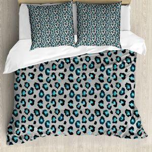 ABAKUHAUS Leopard Bettbezug Set für Einzelbetten, Stain Wie Motive Verunstaltungen, Milbensicher Allergiker geeignet mit Kissenbezug, 200 cm x 200 cm - 80 x 80 cm, Teal schwachgrau