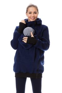 GFWL Tragejacke #Känguru Mama Baby Trage Jacke Allround Fleece GF2301XD in Marine, Größe Damen EU:36 Small