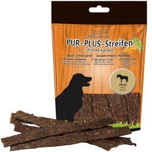 PUR Plus Kaustreifen Pferd + Karotte glutenfrei getreidefrei wunderbar weich und leicht teilbar 1 x 100g Hundesnack Kausnack Leckerli