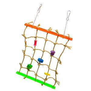 Vogelspielplatz Seil Kletterwand Leiter Vogelkäfig Spielzeug für Vogel, Papagei, Wellensittich, Nymphensittich, Kakadu, Ara, usw.