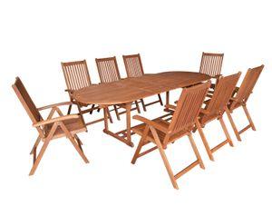 DEGAMO Gartenset Sitzgruppe Gartengarnitur LAGO 9-teilig in XL-Ausführung, 8x Klappsessel mit 8-fach verstellbarer Lehne, 1x Ausziehtisch 180/260x100cm, Holz Eukalyptus geölt