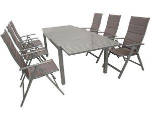 Garnitur TAVIANO 7-teilig, Aluminium + Kunstgewebe braun/silber
