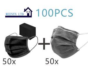 100x Mundschutz Maske 3-lagig Atemschutz Einweg Schutzmaske Gummiband (50xSchwarz,50xGrau)