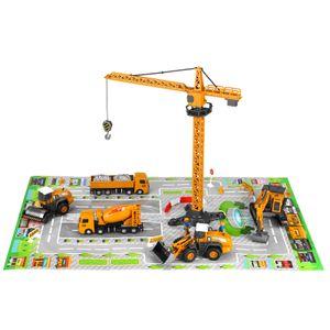 Baustellenfahrzeuge mit Baustellenschild, SGODDE Baufahrzeuge Mini Bagger Baustelle Fahrzeuge Minibagger Spielzeugauto Set - Kleine Spielzeug Auto für Kinder Junge Mädchen ab 3 Jahre
