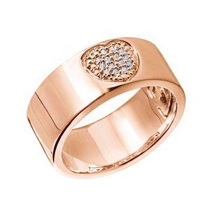MATERIA Herz Ring Rosegold breit - 925 Silber Bandring Silberring Damen rose vergoldet mit Zirkonia in Ringetui, Ringgrößen:62 (19.7 mm Ø)