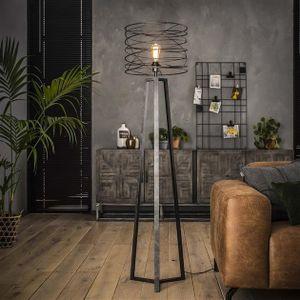 Livin24 Stehlampe Curl 1-flammig Industrial Design charcoal
