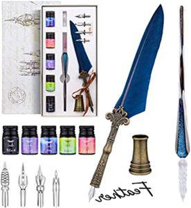Kalligraphie Set, Federkiel Feder und Tinte Set: Kalligraphie-Glas-Dip-Pen-Set mit 4 Ersatzspitzen, 5 Tinten, Geschenkbox