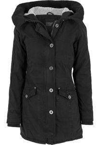 Urban Classics Damen Jacke Ladies Garment Washed Long Parka Black-4XL