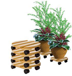 4x Pflanzenroller rund Buchenholz massives Holz 30 cm bis 120 Kg Rolluntersetzer
