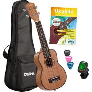 Cascha HH 2027 FR Premium Mahogany soprano ukulele set (French)
