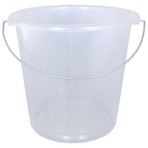 3xHaushaltseimer 10 Liter rund transparent mit Metallbügel Putzeimer Wassereimer
