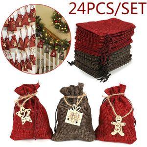 Miixia Adventskalender zum Befüllen Weihnachtskalender Weihnachten Säckchen XMAS DIY Adventskalender zum Befüllen Weihnachten Säckchen Decor 24 Stoffbeutel