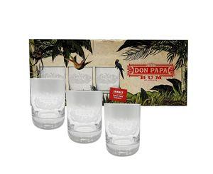 Don Papa Rum Tumbler Glas Gläser Longdrinkglas mit Verpackung Set - 3 x Gläser