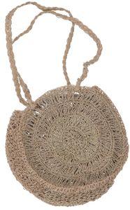 Geflochtene Umhängetasche, Schultertasche aus Bast - Modell 3, Uni - Erwachsene, Braun, 34*34*8 cm, Alternative Umhängetasche, Handtasche aus Stoff