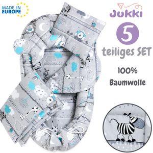 JUKKI® Baby Nestchen ✨ 5tlg BAUMWOLLE SET für Neugeborene [Zebra und Freunde] 2seitig 100x55cm Babynest + Matratze + Decke + 2xKissen