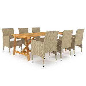 Gartenmöbel Essgruppe 6 Personen ,7-TLG. Terrassenmöbel Balkonset Sitzgruppe: Tisch mit 6 Stühle, Beige❀5396
