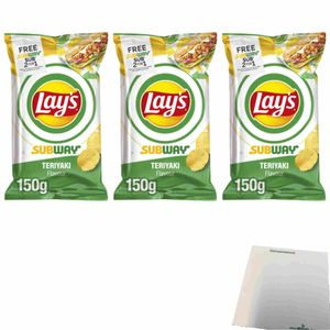 Lays Subway Teriyaki Flavour Kartoffelchips 3er Pack (3x150g Beutel) + usy Block