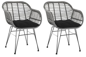 SalesFever Armlehnstuhl 2er Set | Rattan-Optik | Gestell Metall schwarz | Indoor- und Outdoor geeignet | B 56 x T 59 x H 80 cm | grau