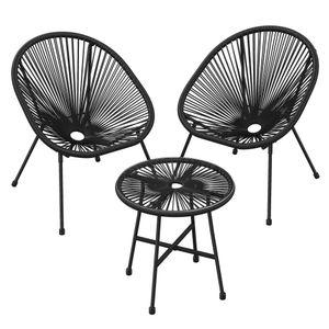 SONGMICS Gartenmöbel-Set丨3er-Set Tisch mit Glasplatte und 2 Stühle丨Lounge-Set aus Polyrattan丨Innen- und Außenbereich schwarz GGF013B01