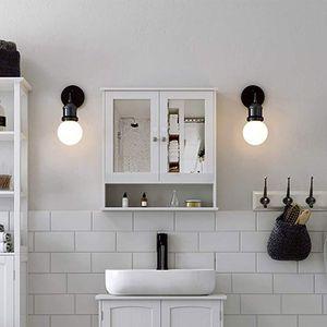 JEOBEST® Spiegelschrank Badschrank weiß  Hängeschrank Spiegel mit Türen Bad Wandspiegel 56x58x13cm weiß